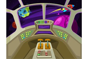 Cartoon spaceship cabin interior with windows into space with alien planets vector illustration