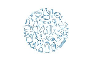 Sketch milk products, farm breakfast vector concept with doodle dairy icons