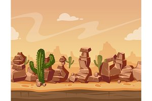 Vector cartoon seamless landscape with stones and cactus. Game wild background illustration