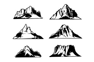 Monochrome mountains vector silhouettes. Snowy mountain ranges. Outdoor design elements set
