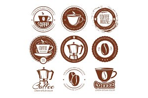 Vector illustration of vintage coffee labels and badges. Logo cafe