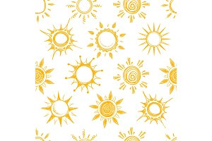 Funny yellow summer sun vector seamless pattern