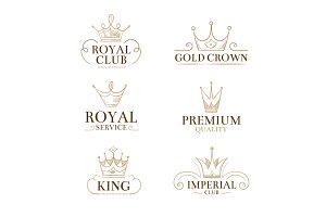Vintage princess vector labels and logos with crowns
