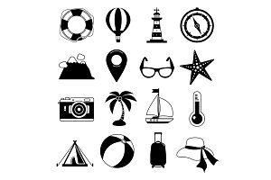 Summer time. Vector Black icon set. Sunrise, sea and vacation tour. Monochrome leisure illustrations