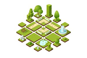 Isometric urban elements and garden decoration. Benches, fountain trees and bushes. Vector illustration set