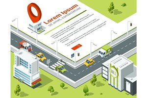 Isometric 3d city. Conceptual poster with highway and point on map location. Vector illustration