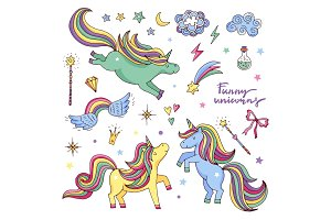 Vector funny set with rainbow, unicorn and other magic attributes. Stars, clouds