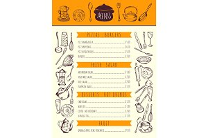 Restaurant food menu for lunch. Hand drawn pictures of kitchen tools. Vector illustration
