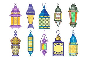 Ramadan old lamps and lanterns set of arabic style. Vector illustrations