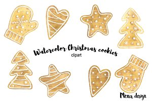 Watercolor Christmas cookies