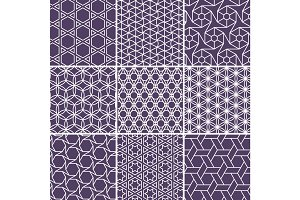 Arabic seamless patterns set from simple geometric shapes. Islam vector ornament