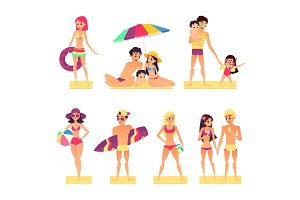 People on vacation. Flat style vector illustration. Happy and young girls and boys sunbathing