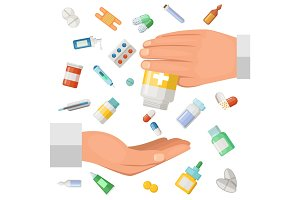 Concept illustration with hands of the doctor and some medical elements. Pharmaceutical pills, drugs