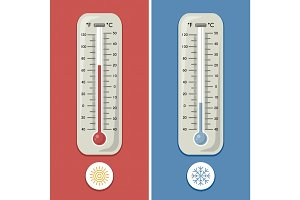 Thermometer of celsius and fahrenheit. Meteorology and different temperature cold and warm. Vector illustrations