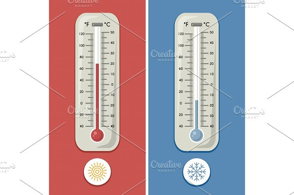 thermometer of celsius and fahrenheit meteorology and different