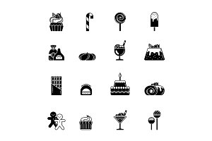 Monochrome black icons of sweet, biscuits and other bakery foods. Ice cream and chocolate cupcake. Vector pictures set