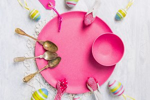 Easter table setting with eggs