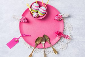 Pink plate with Easter eggs