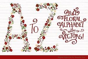 Christmas Floral Alphabet Clip Art
