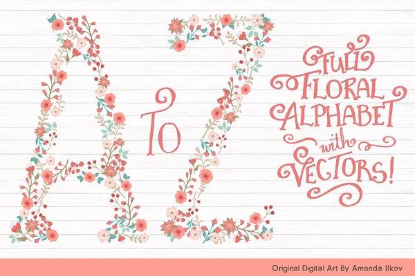 Mint & Coral Floral Alphabet Clipar…