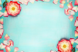 Flowers frame on turquoise