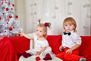 Brother and sister. Christmas