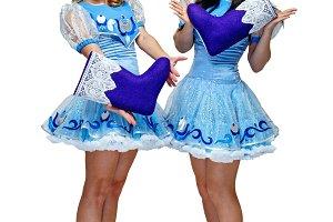 Girls in costume Snow Maiden
