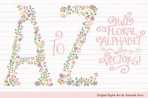 Garden Party Floral Alphabet Vectors