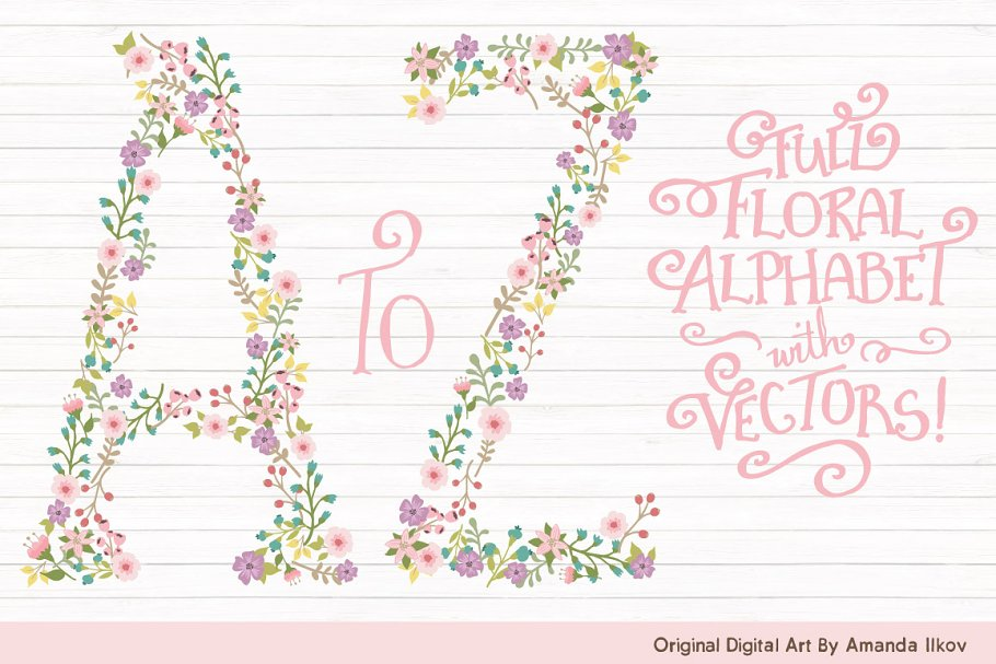 Garden Party Floral Alphabet Vectors in Illustrations - product preview 8
