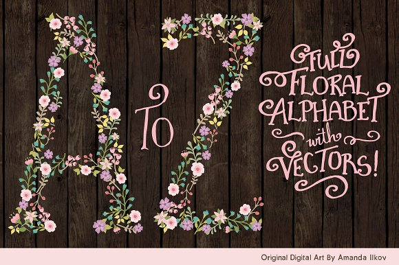 Garden Party Floral Alphabet Vectors in Illustrations - product preview 1