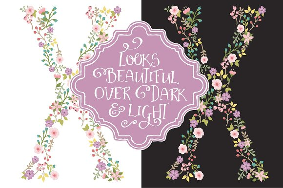 Garden Party Floral Alphabet Vectors in Illustrations - product preview 2