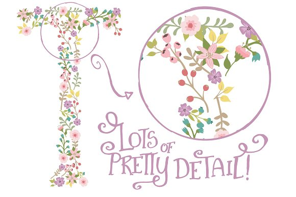 Garden Party Floral Alphabet Vectors in Illustrations - product preview 3