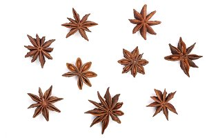 Star anise isolated on white background. Top view