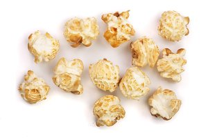 Popcorn isolated on white background. Top view