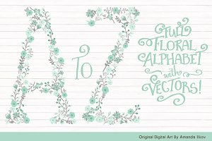 Mint & Grey Floral Alphabet Vectors