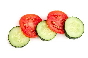 tomato and cucumber slice isolated on white background. Top view