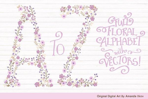 Lavender Floral Alphabet Vectors