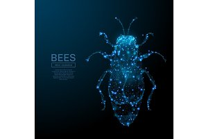BEES low poly blue