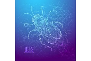 BEES low poly blue purple