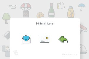 34 Email Vector Outline Color Icon