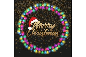 Merry Christmas poster with lights
