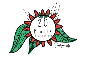20 Plants Illustrations - Vector Art