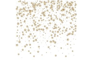 Beautiful Christmas golden snowflake background.