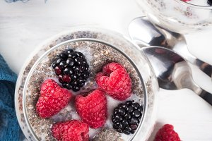 Chia pudding with fresh berries