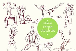 People doing exercises sketch set