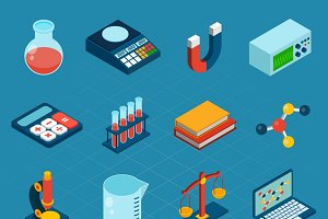 Isometric science 3d icons set