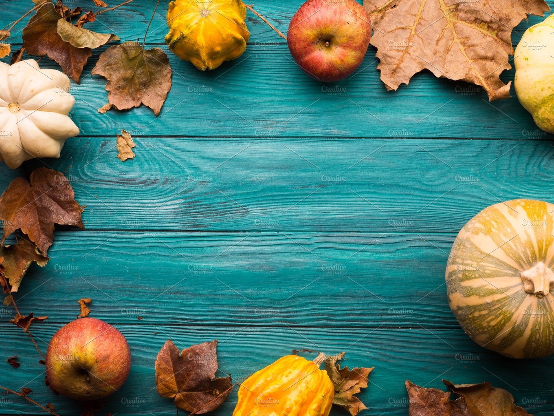 Green autumn background with pumpkin leaves holiday photos creative market - Fall wallpaper pumpkins ...