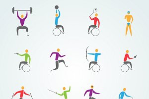 Disabled sports icons set