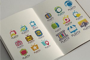 40 Premium Television Logo Icon Set