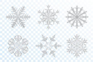 Realistic grey icy snowflakes set